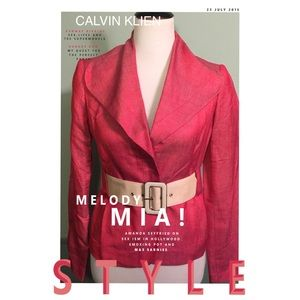New Calvin KLEIN Red Belted Linen Blend Blazer 2